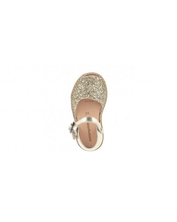 Sandales paillettes oro