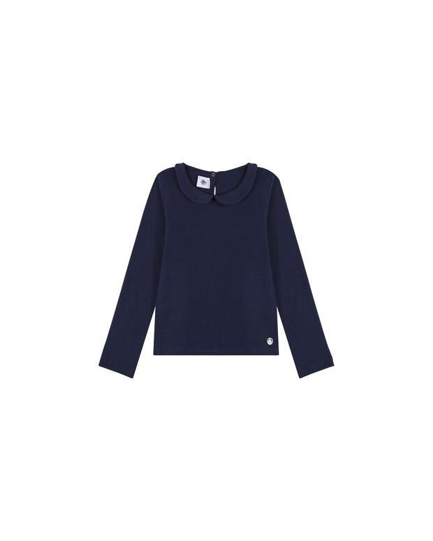 Tee-shirt col claudine bleu...
