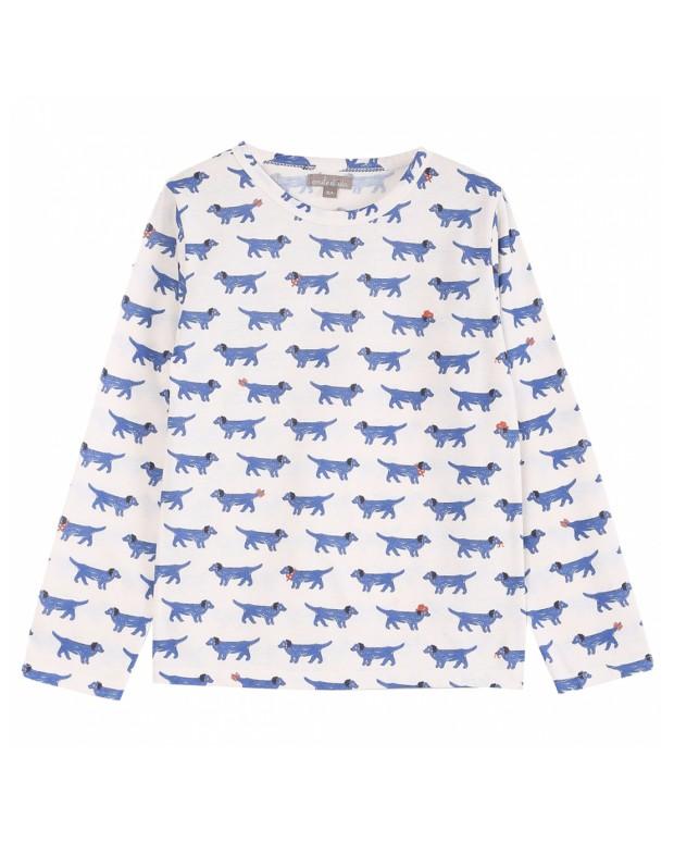 Tee-shirt chiens bleus